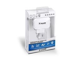 Vægoplader TooQ TQWC-1S02WT USB x 2 17W Hvid