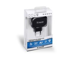 Vægoplader TooQ TQWC-1S02 USB x 2 17W Sort